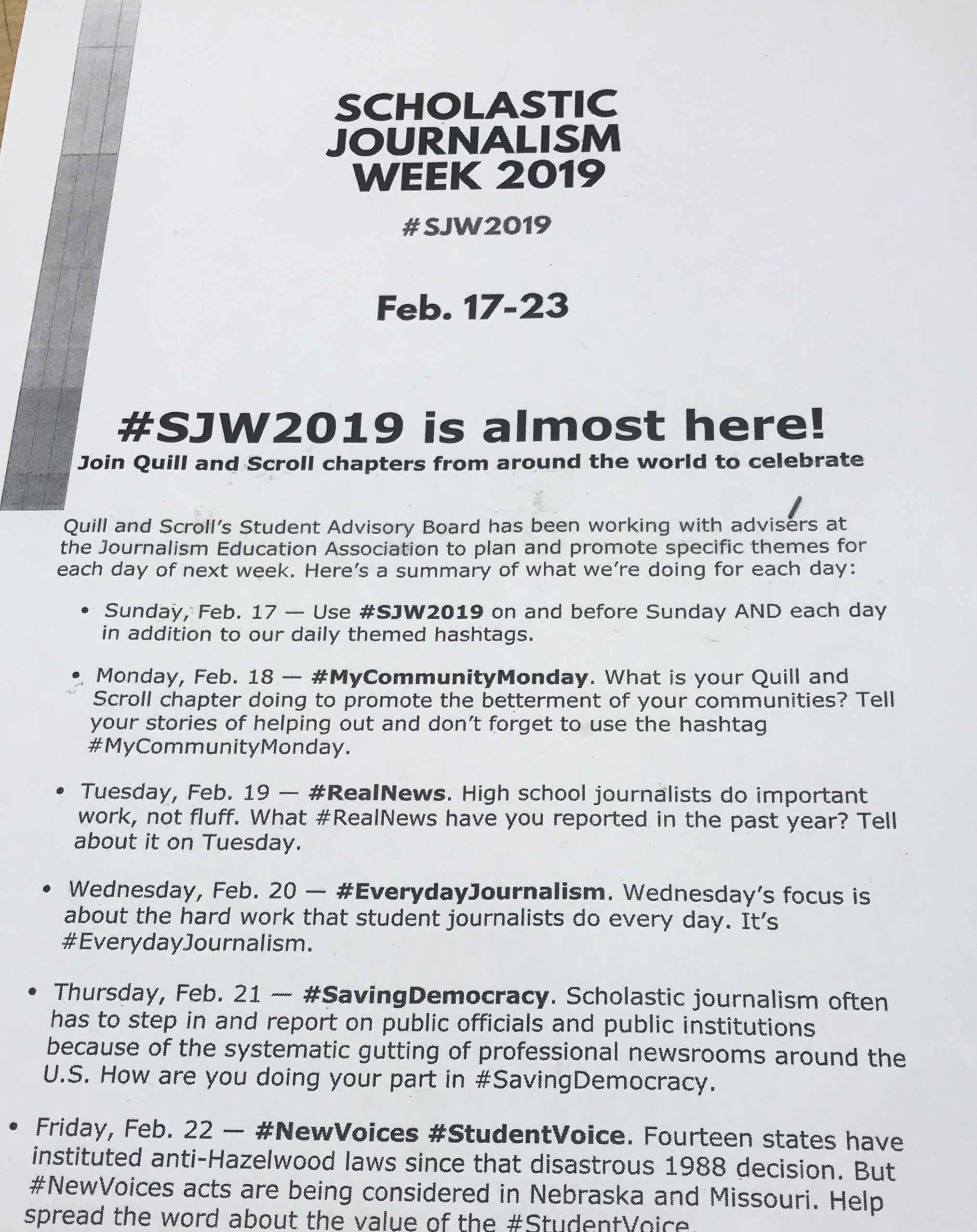 Welcome 2019 scholastic journalism week