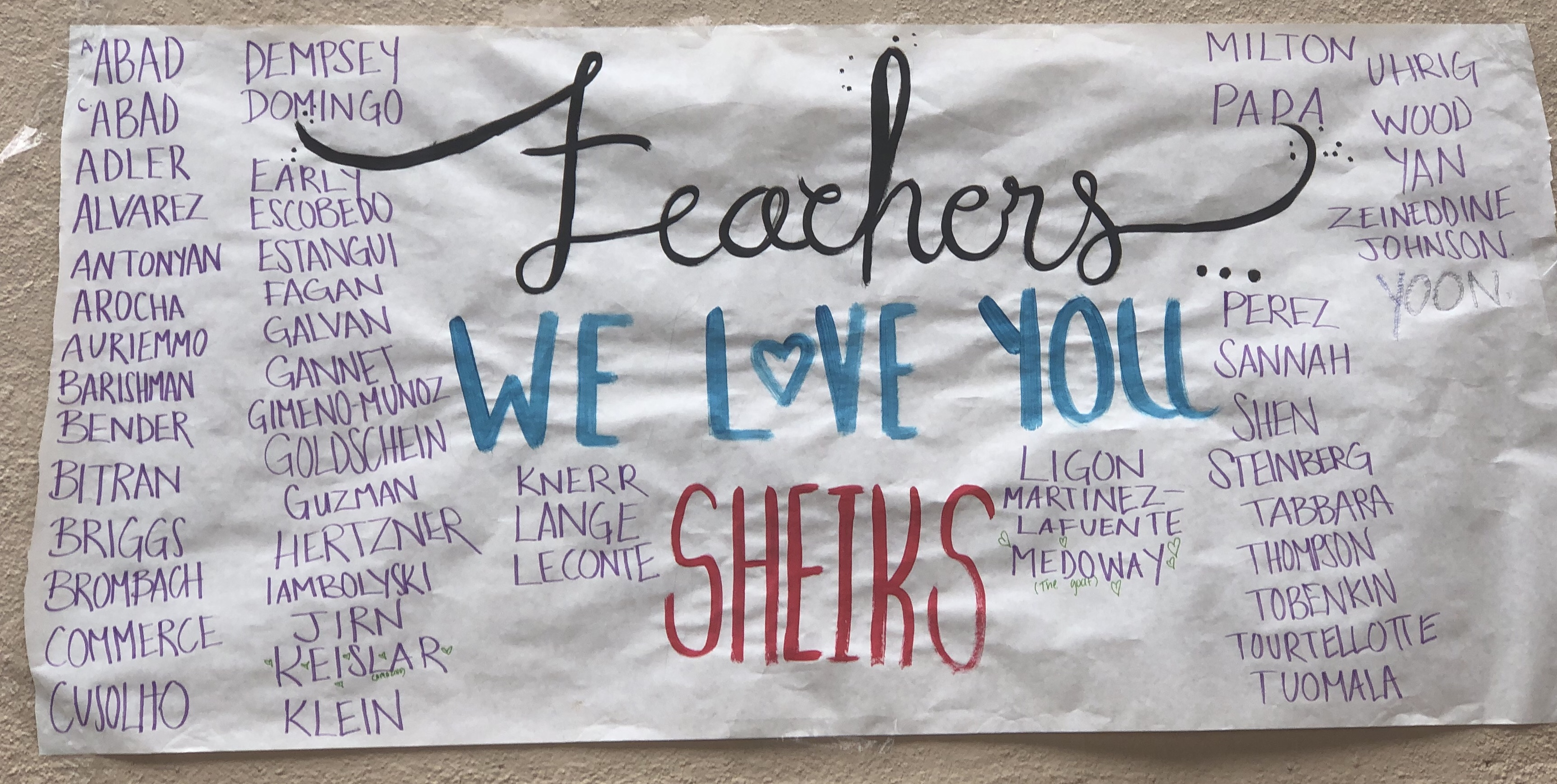 Teachers feel the love