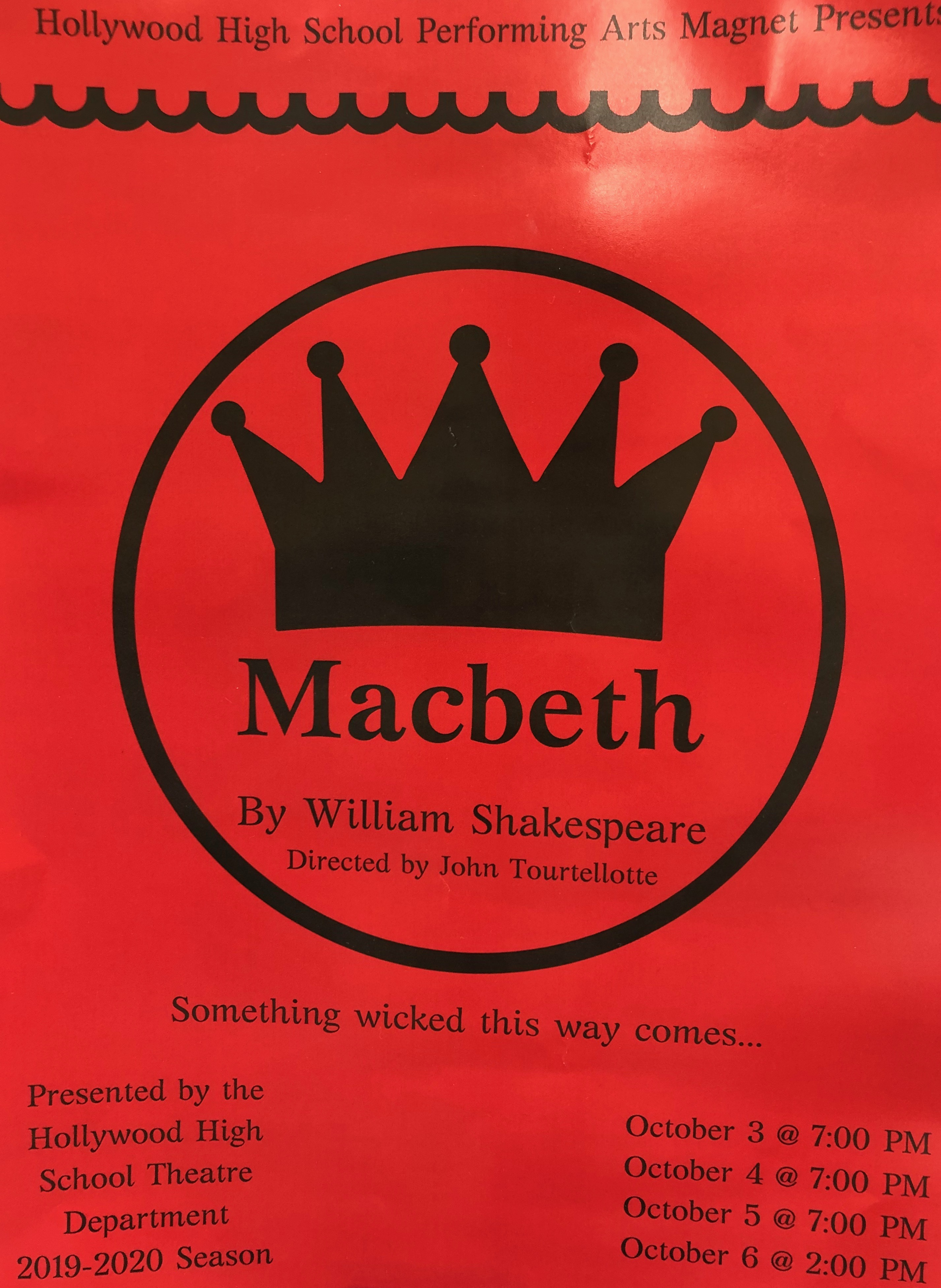 Macbeth opens on Thursday