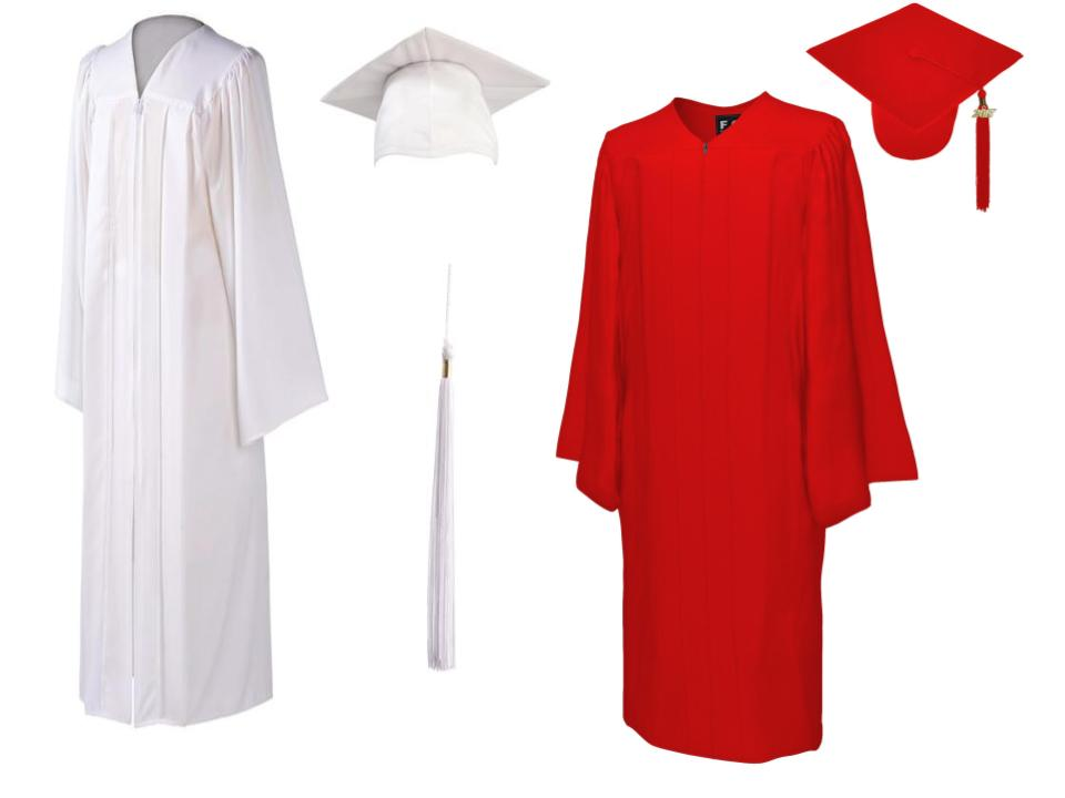 Graduating in red or white